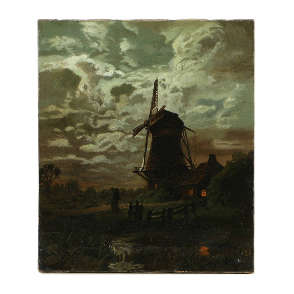 Late 19th-Century Oil Painting on Canvas Dutch Scene