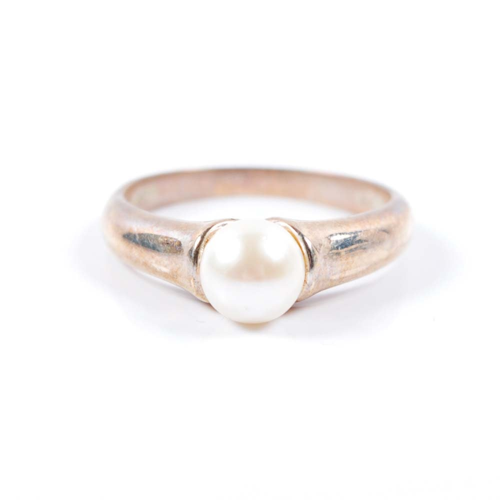 Sterling Silver Cultered Pearl Ring