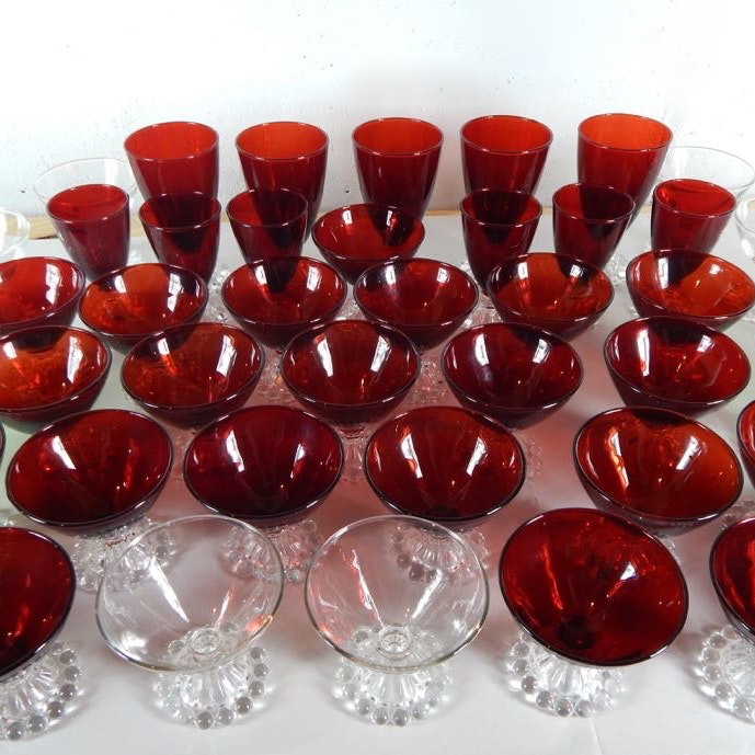 Ruby, Forest Green, And Clear Anchorglass Glassware