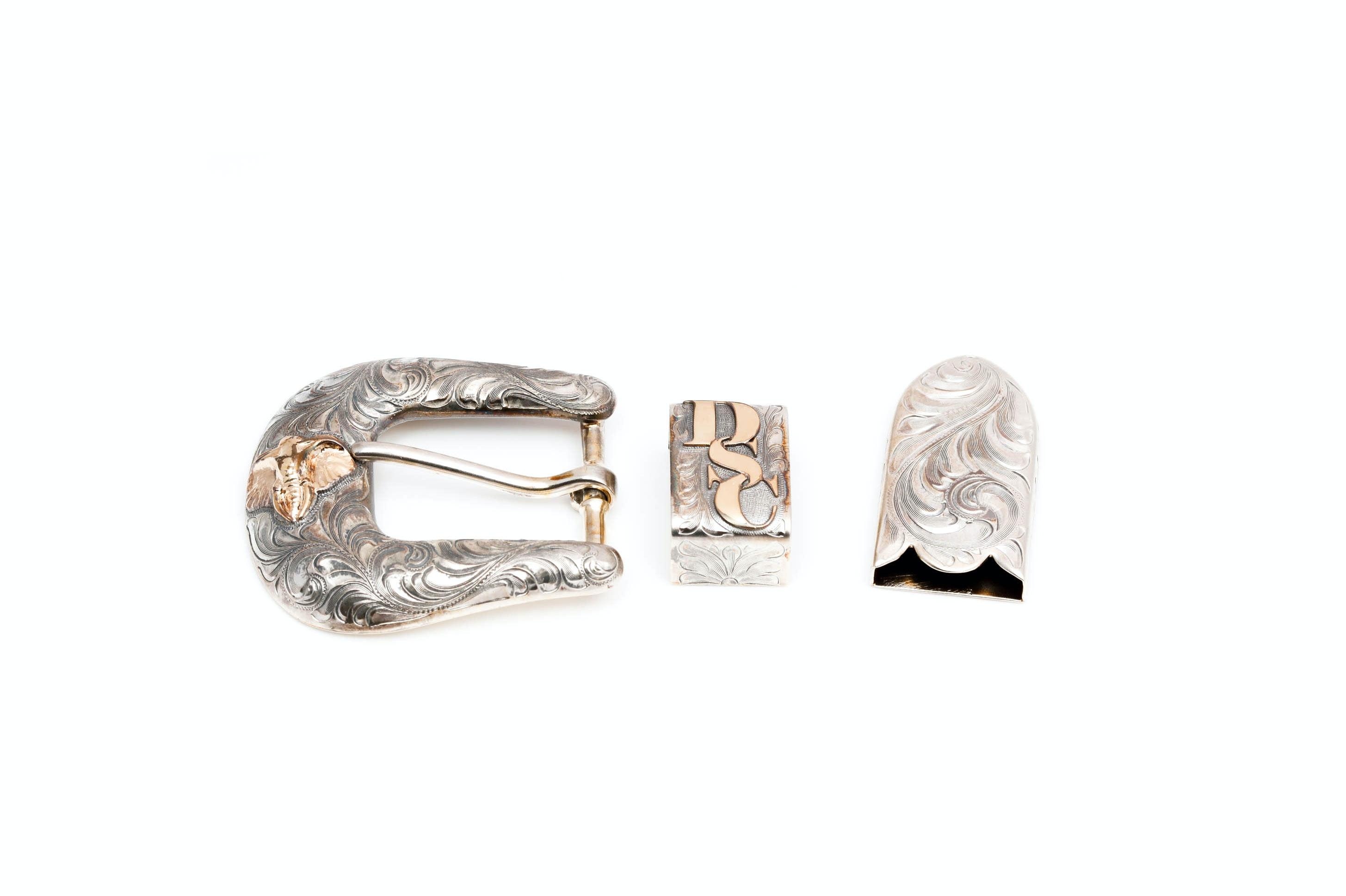 VOGT Sterling Silver Three Piece Belt Buckle