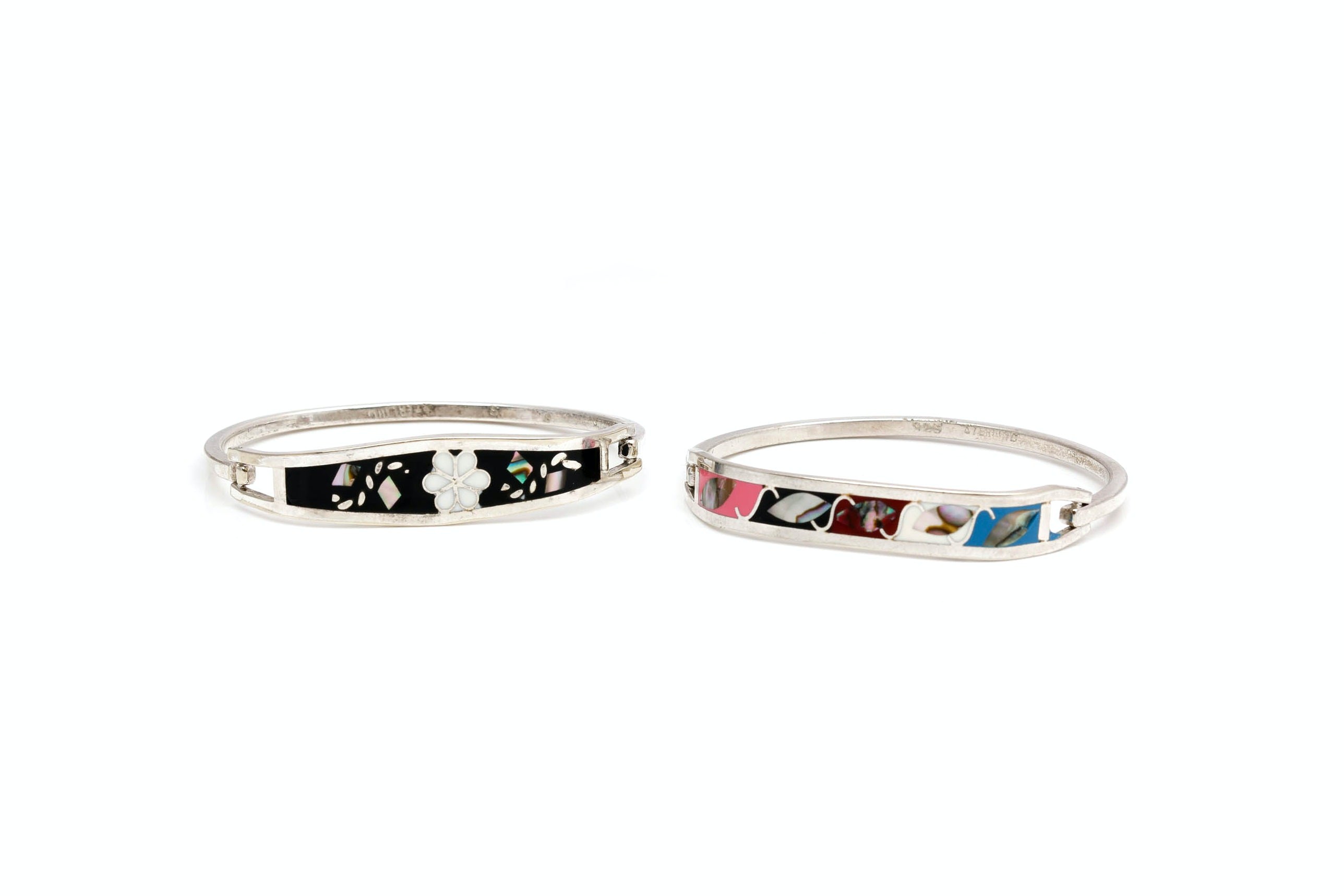 Sterling Silver Mother of Pearl and Enamel Bangles