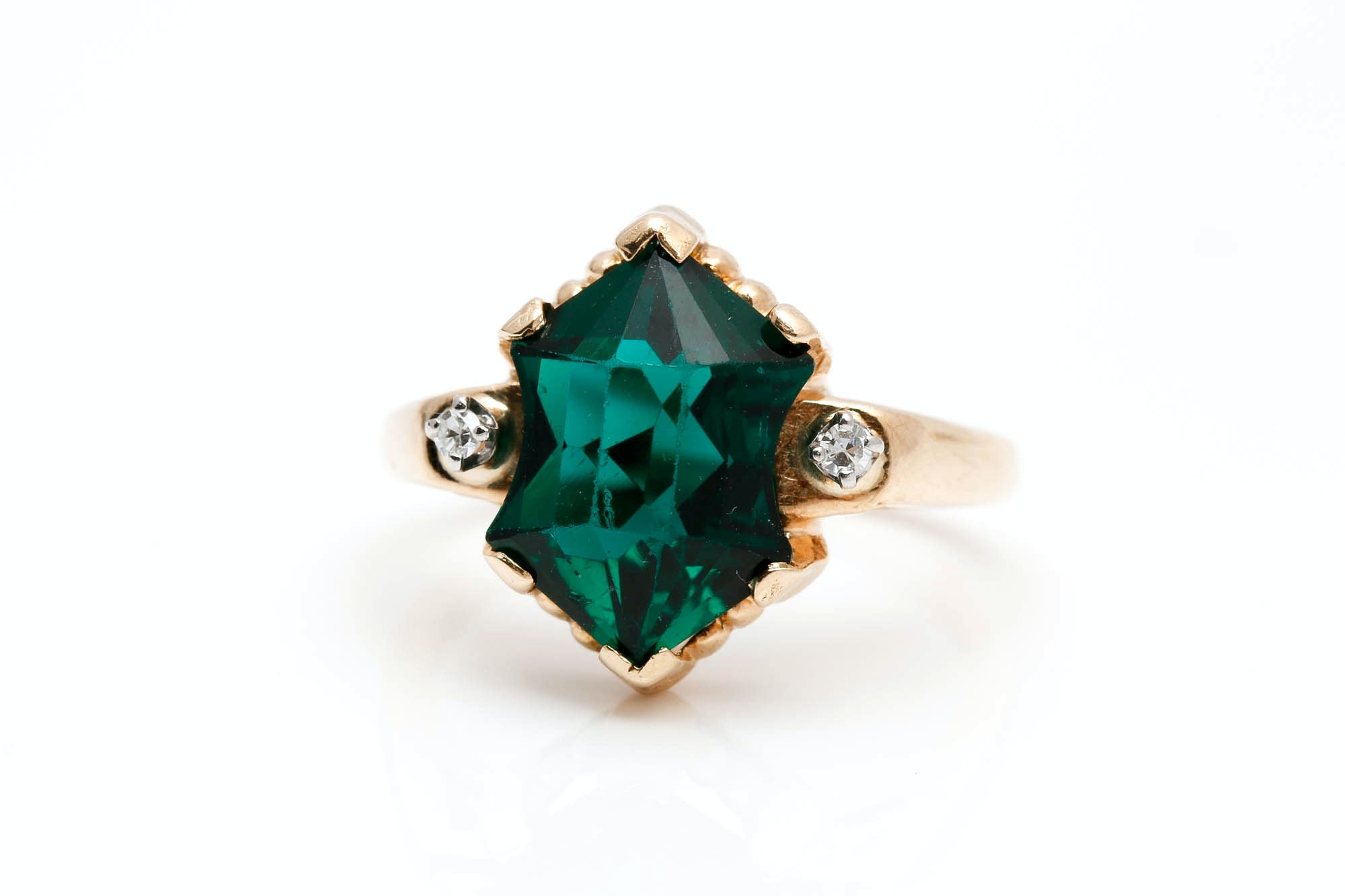 14K Yellow Gold Emerald Colored Glass and Diamond Ring