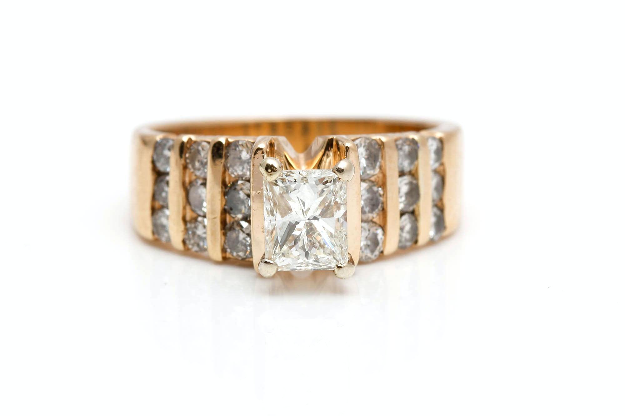 14K Yellow Gold 1.67 CTW Diamond Engagement Ring