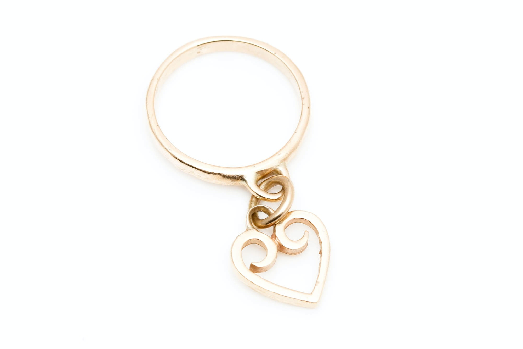 James Avery 14K Yellow Gold Heart Dangle Ring