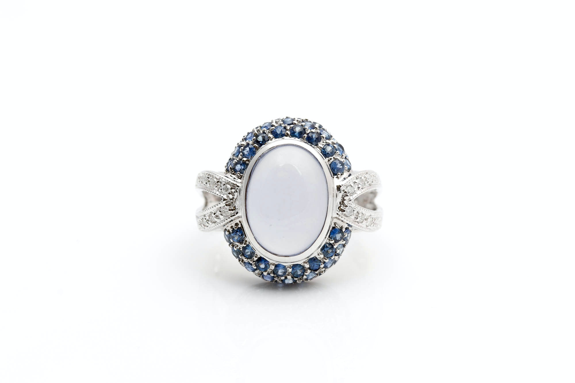 14K White Gold Chalcedony, Sapphire, and Diamond Ring