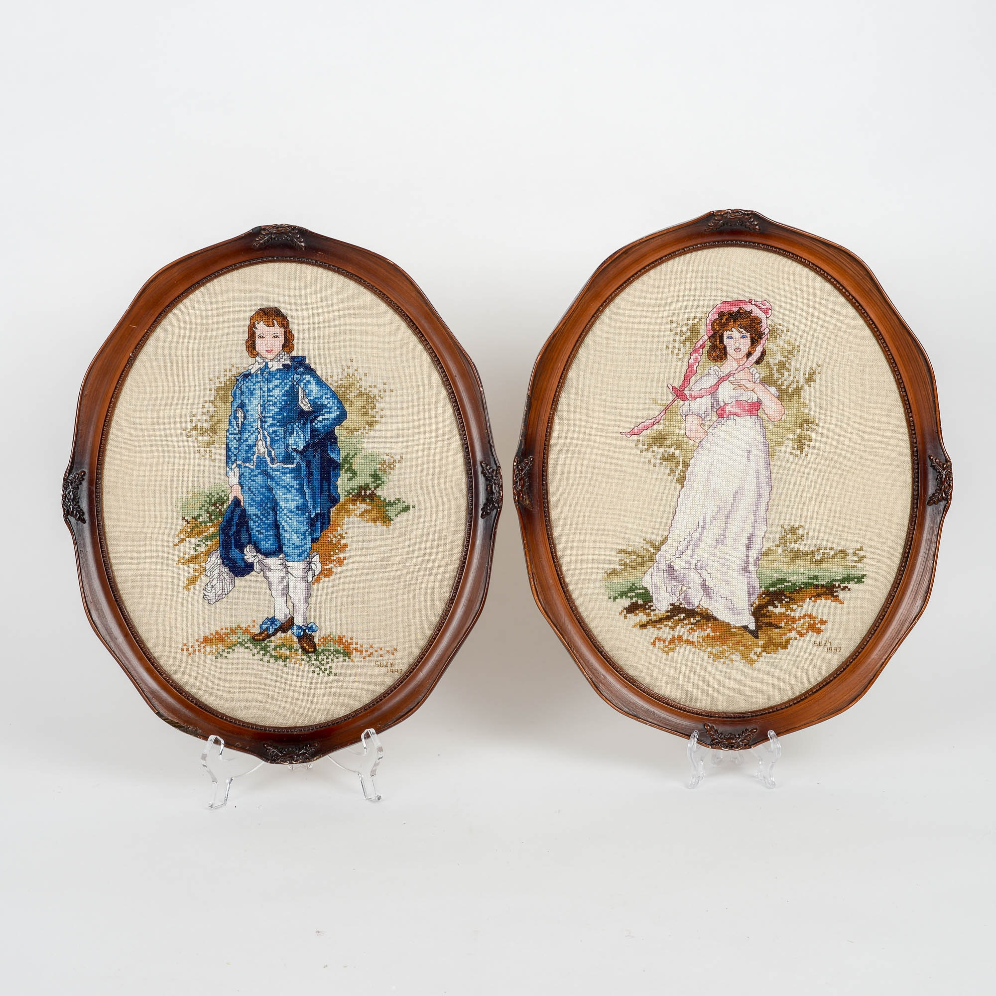 Pair of Cross Stitch Victorian Wall Hangings