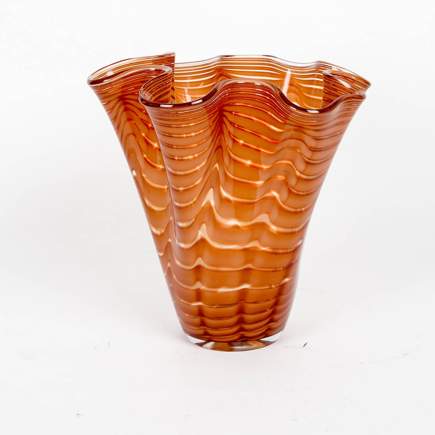 Large Murano Style Glass Vase Ebth