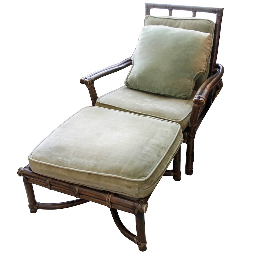 Bamboo Turned Chair: McGuire Bamboo Style Chair And Ottoman