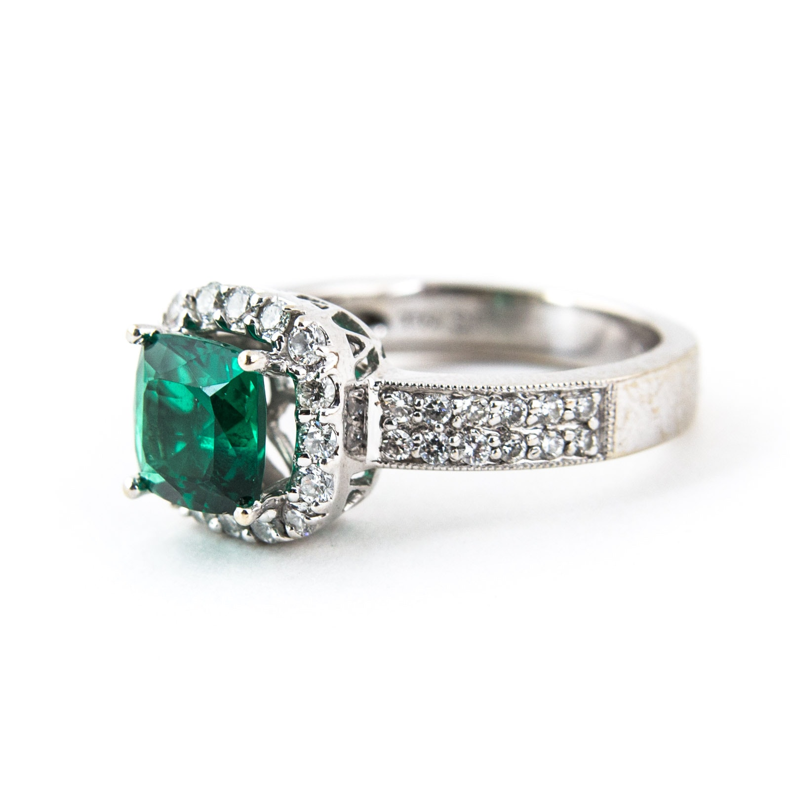 18K White Gold, Emerald, and Diamond Ring