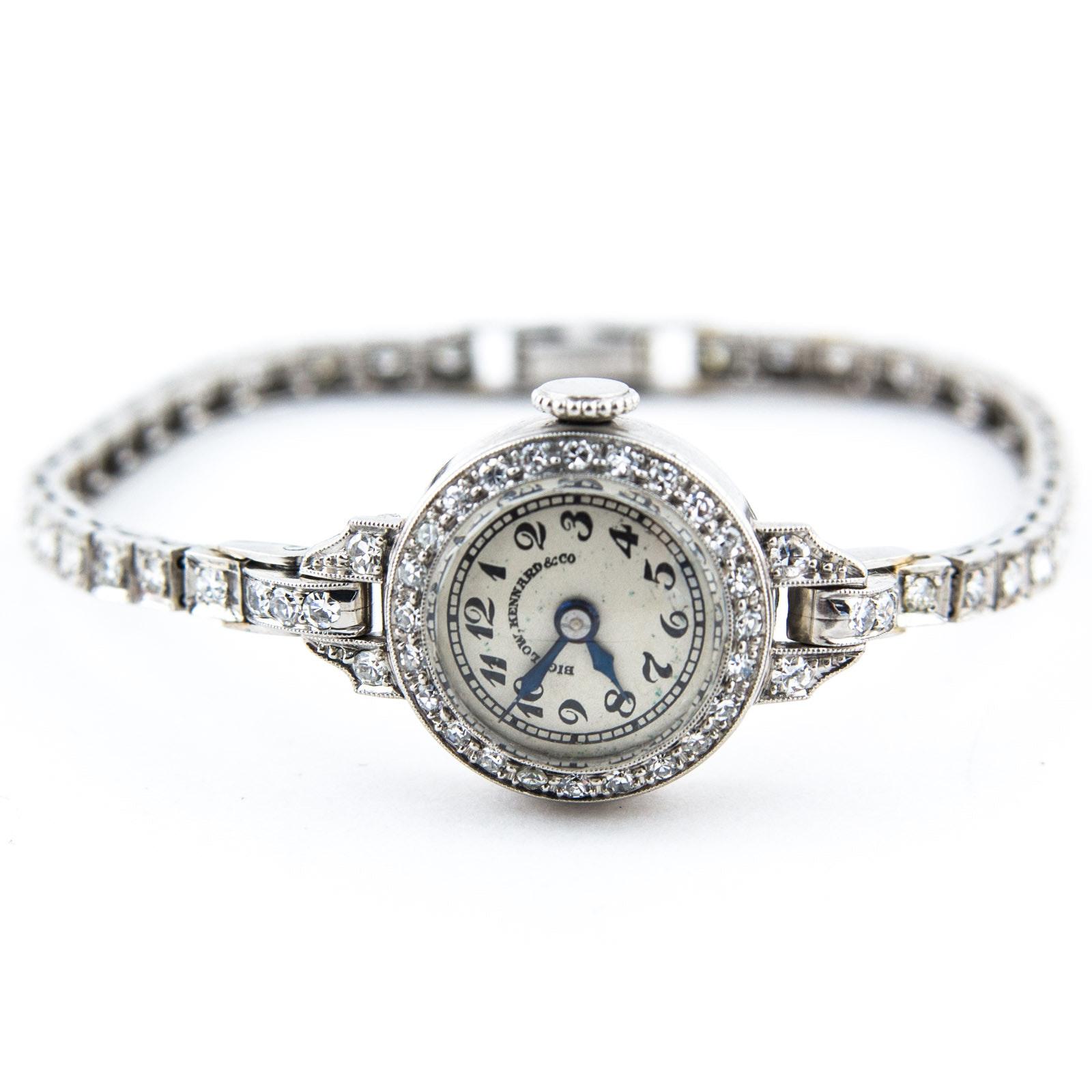 1940s Bigelow, Kennard & Co. Platinum Iridium and Diamond Wristwatch