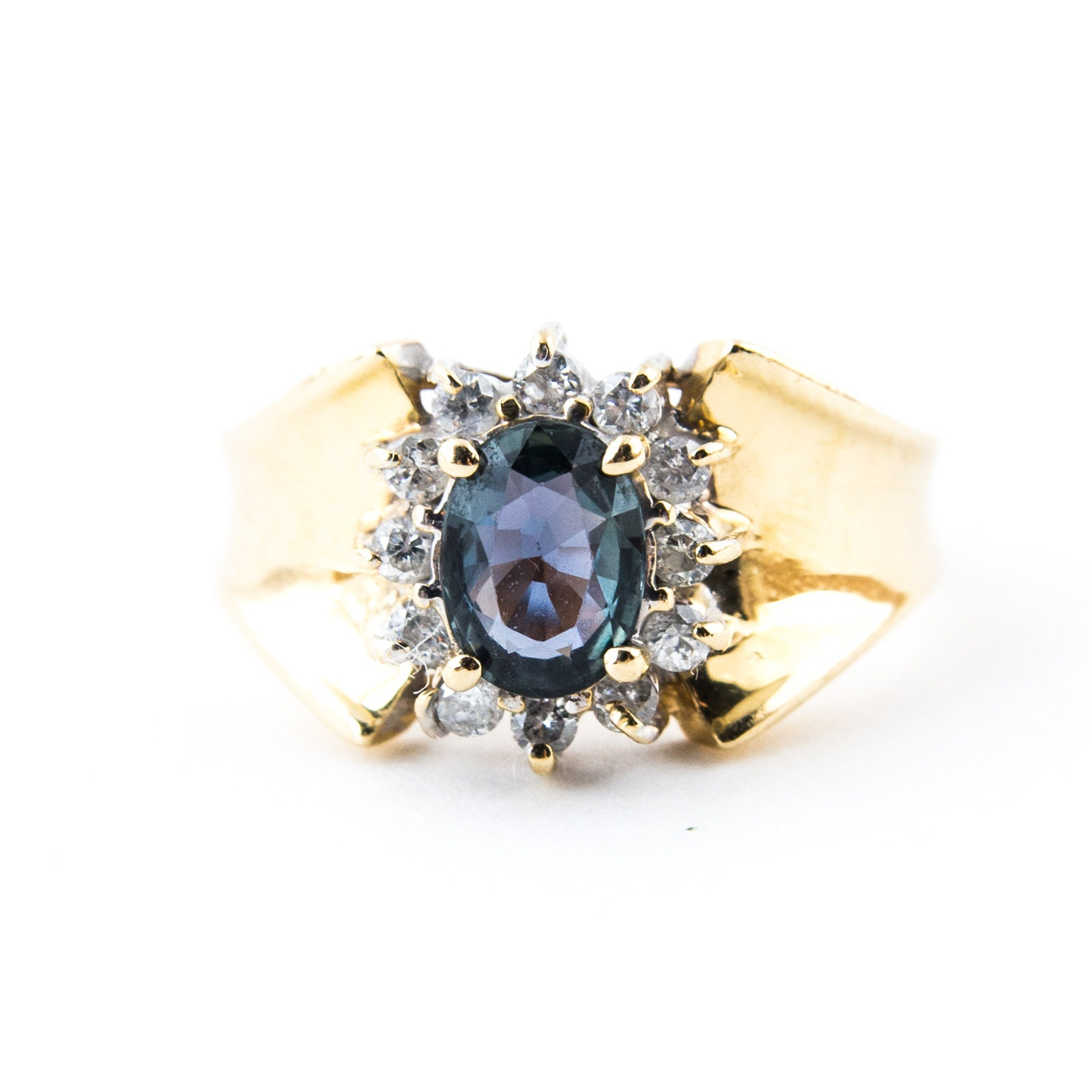 14K Yellow Gold, Color Change Sapphire, and Diamond Ring