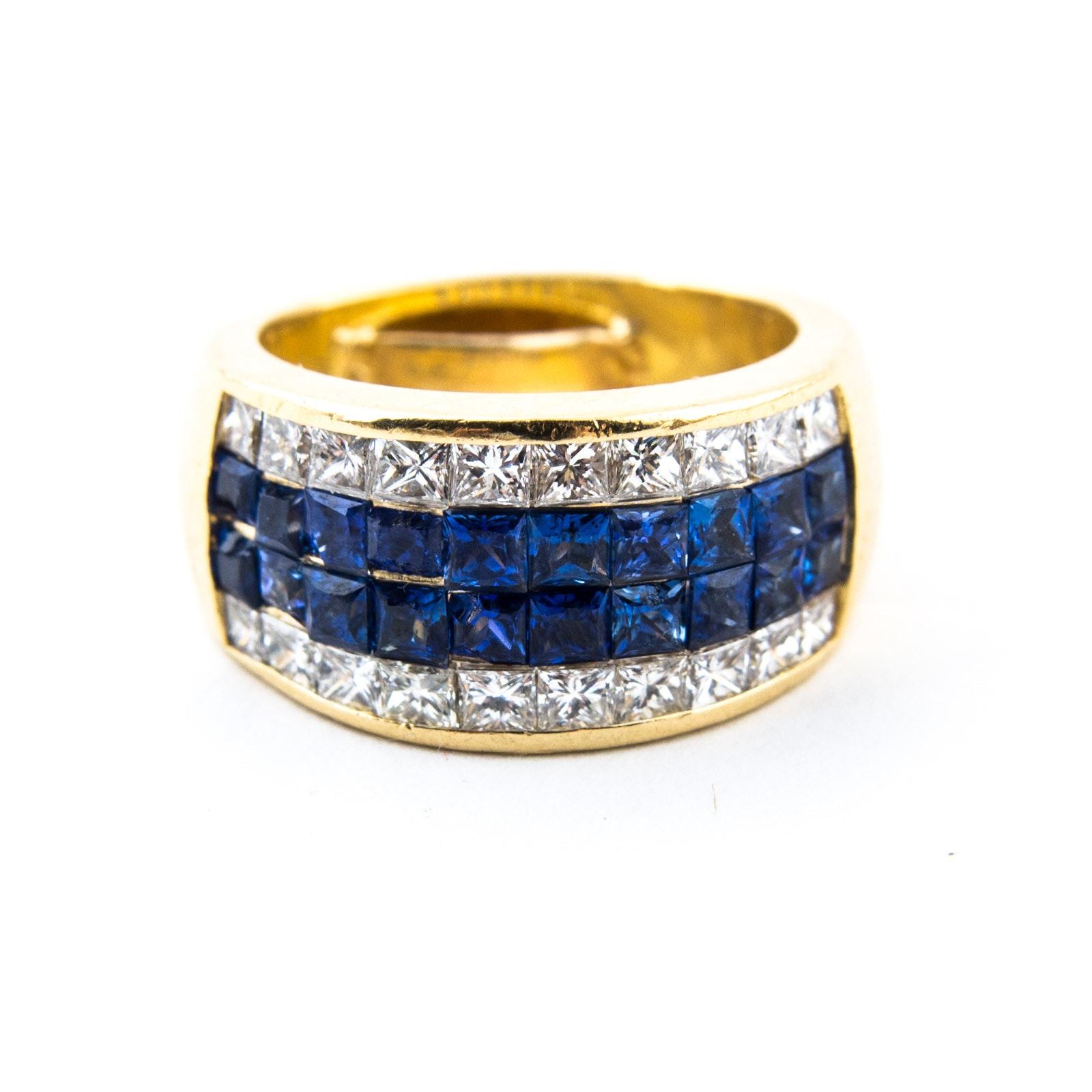 18K Yellow Gold, Blue Sapphire, and Diamond Ring