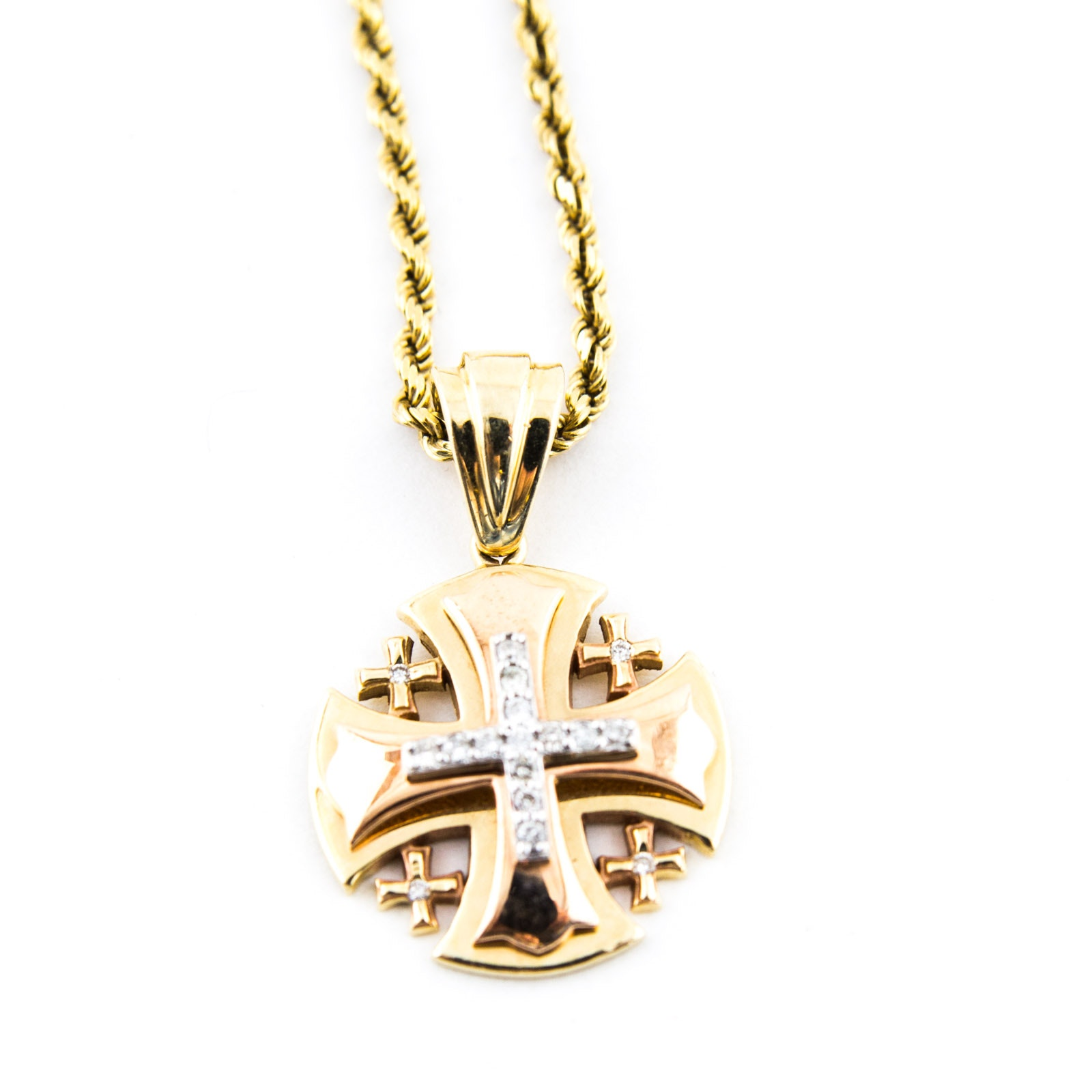 "18K Yellow Gold and Diamond ""Jerusalem"" Pendant and Necklace"