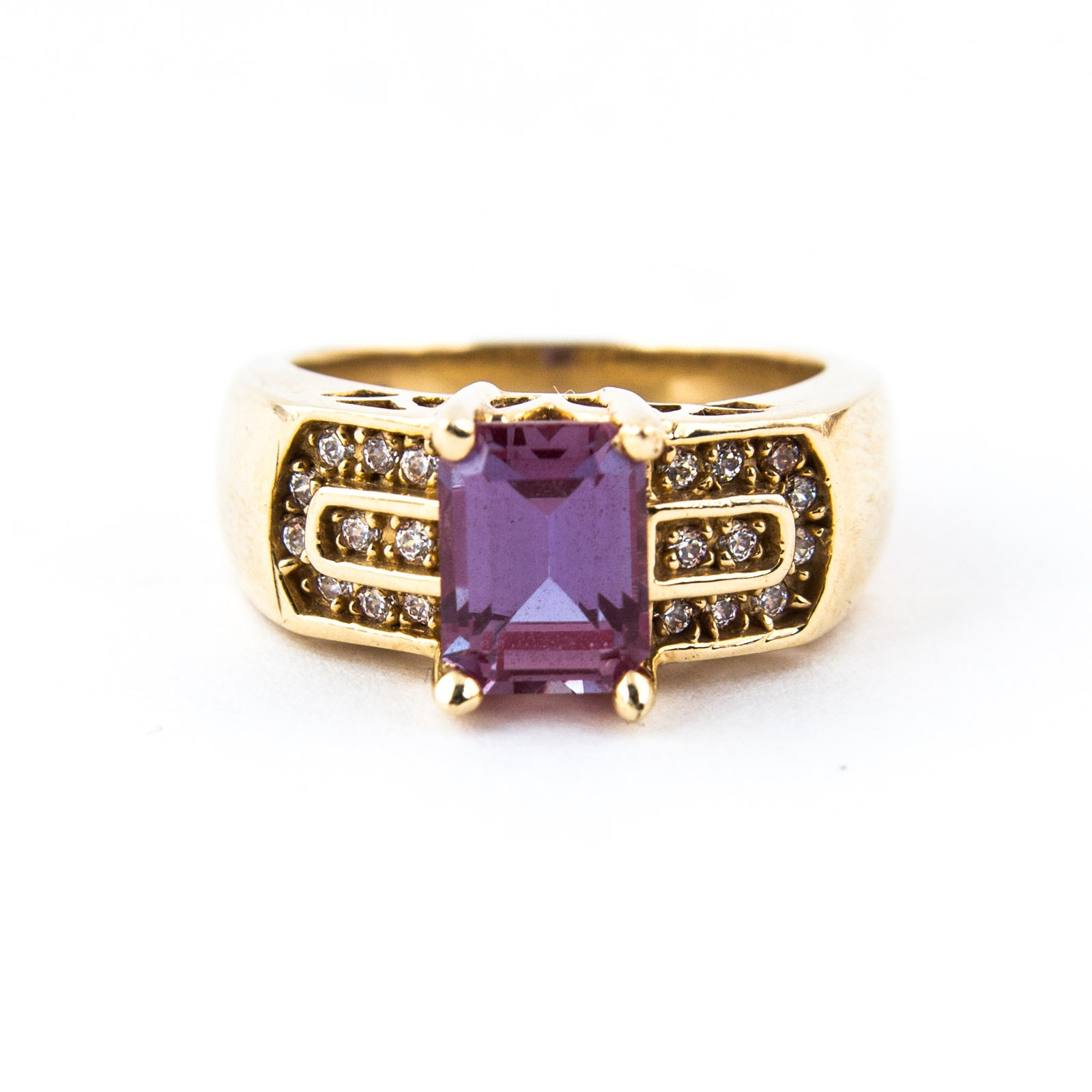 14K Yellow Gold, Alexandrite, and Cubic Zirconia Ring