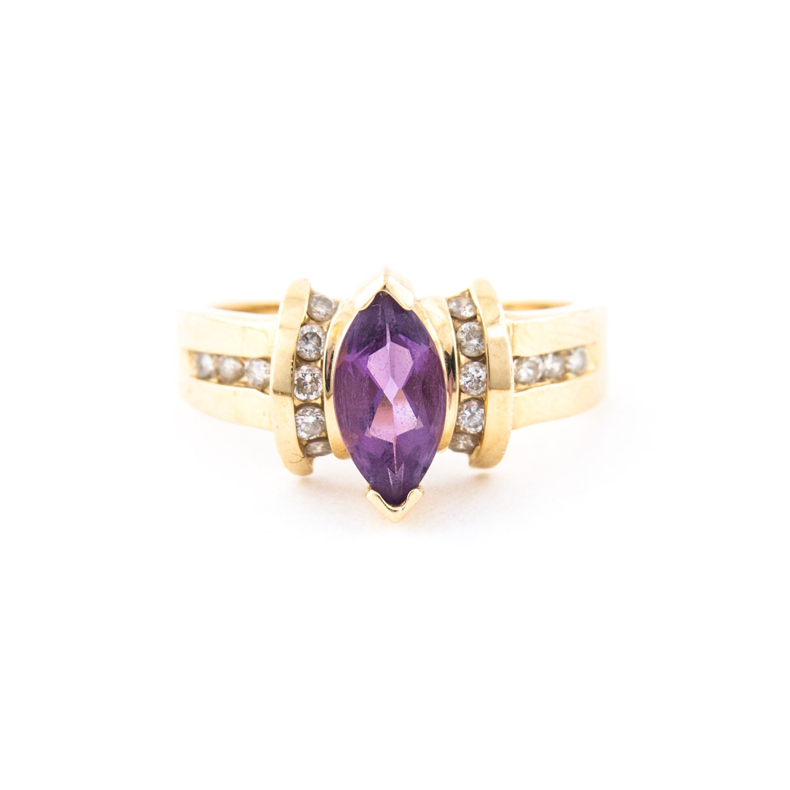 14K Yellow Gold, Amethyst, and Diamond Ring