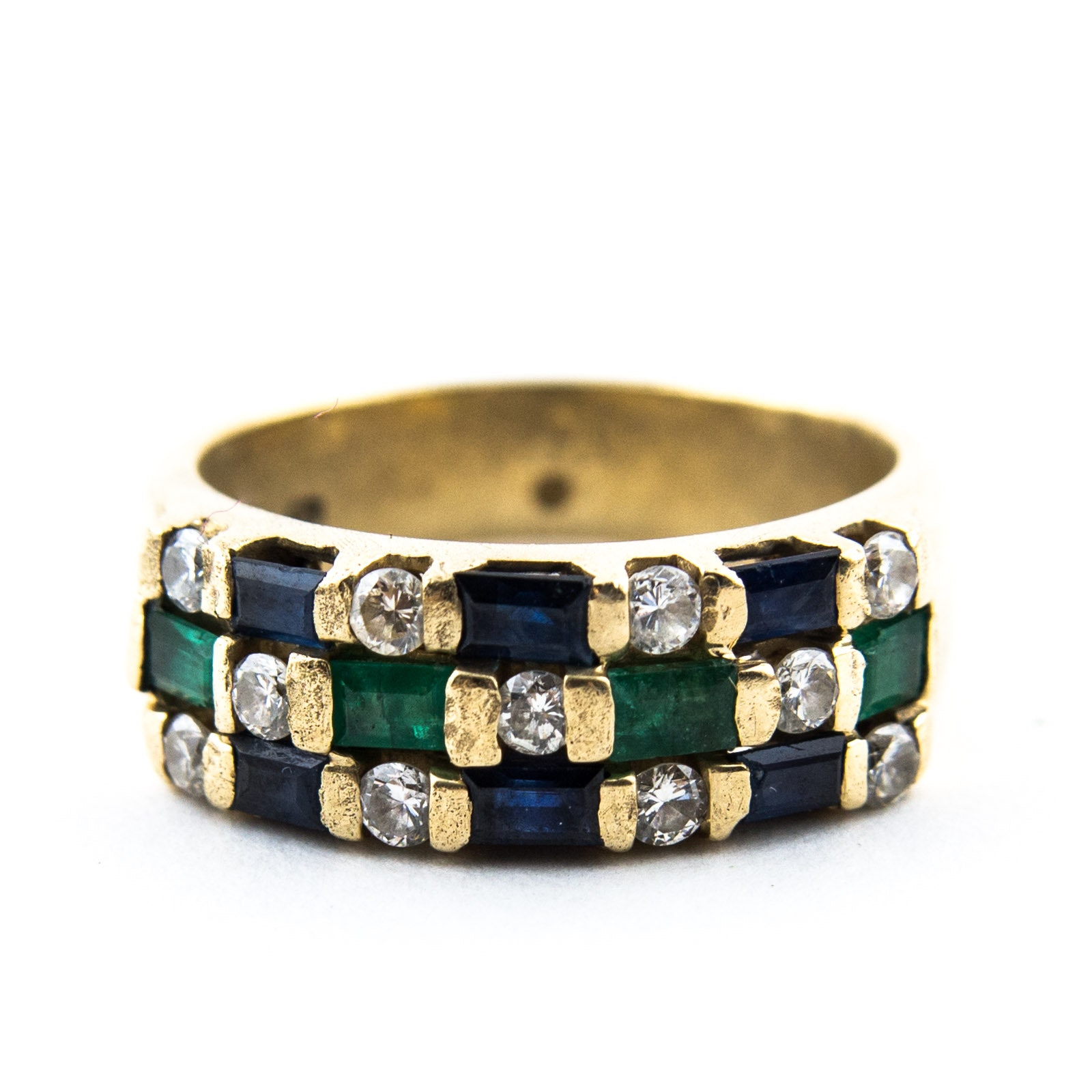 14K Yellow Gold, Diamond, Sapphire, and Emerald Ring