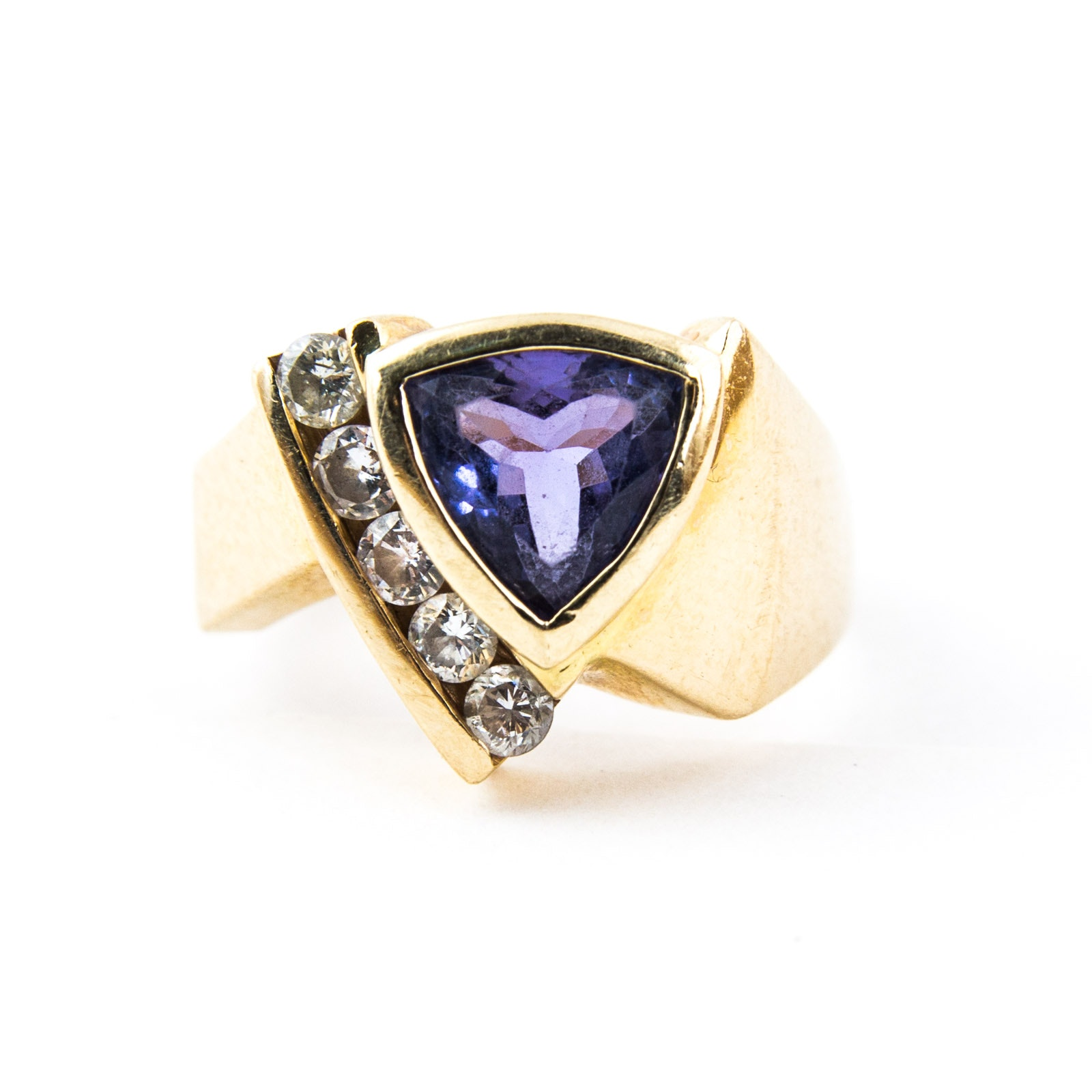 14K Yellow Gold, Tanzanite, and Diamond Ring