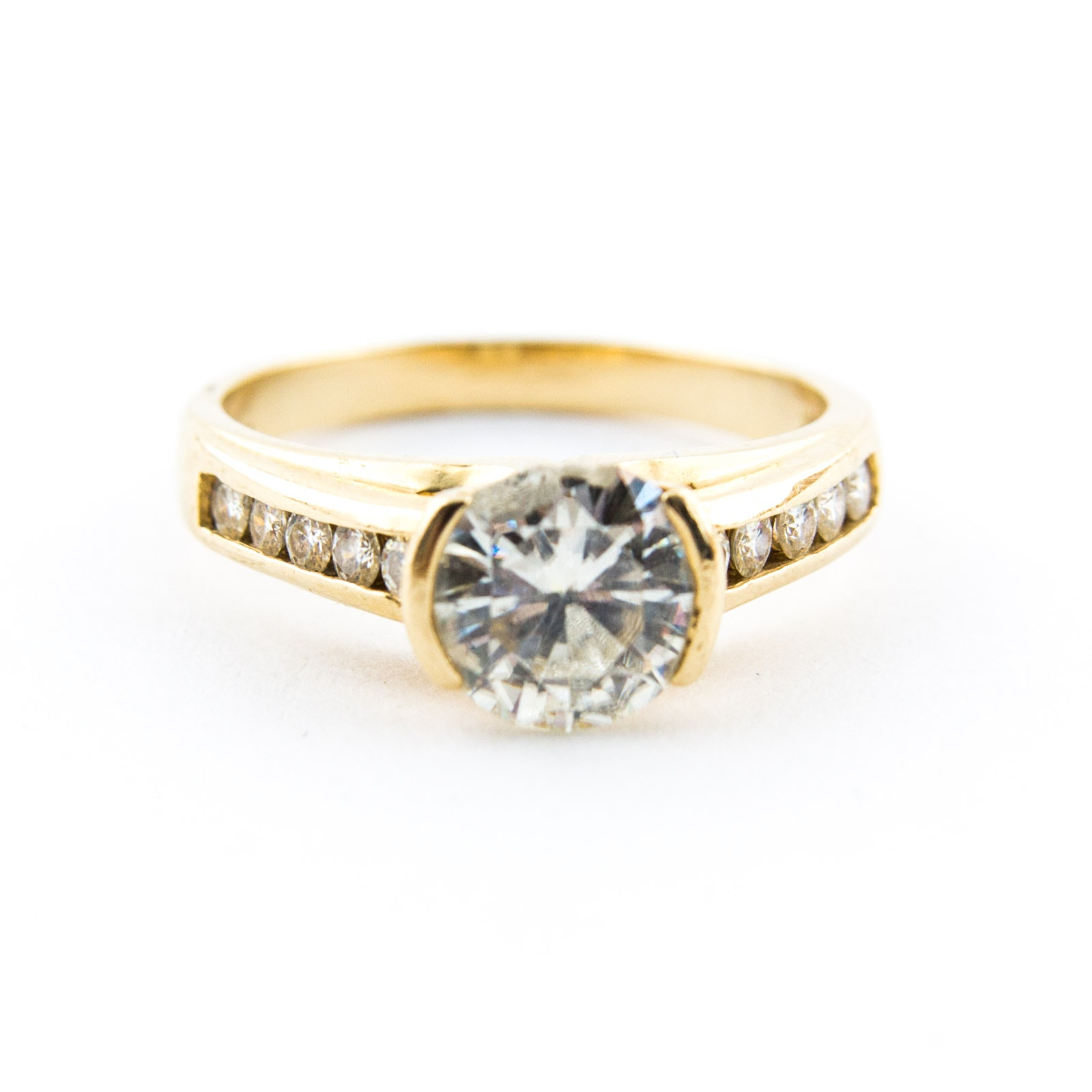 14K Yellow Gold Ring with Moissanite Stones