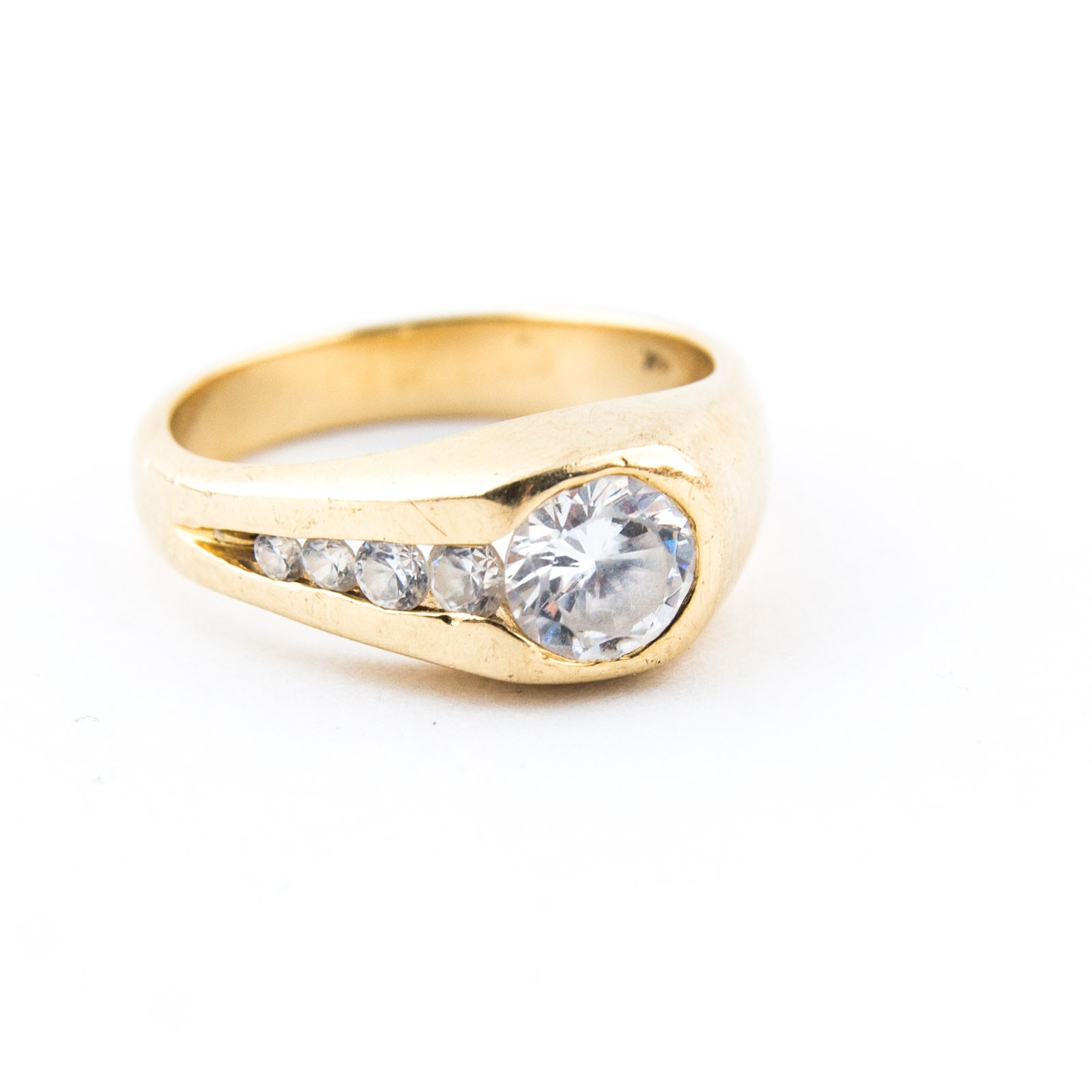 14K Yellow Gold and Cubic Zirconia Ring