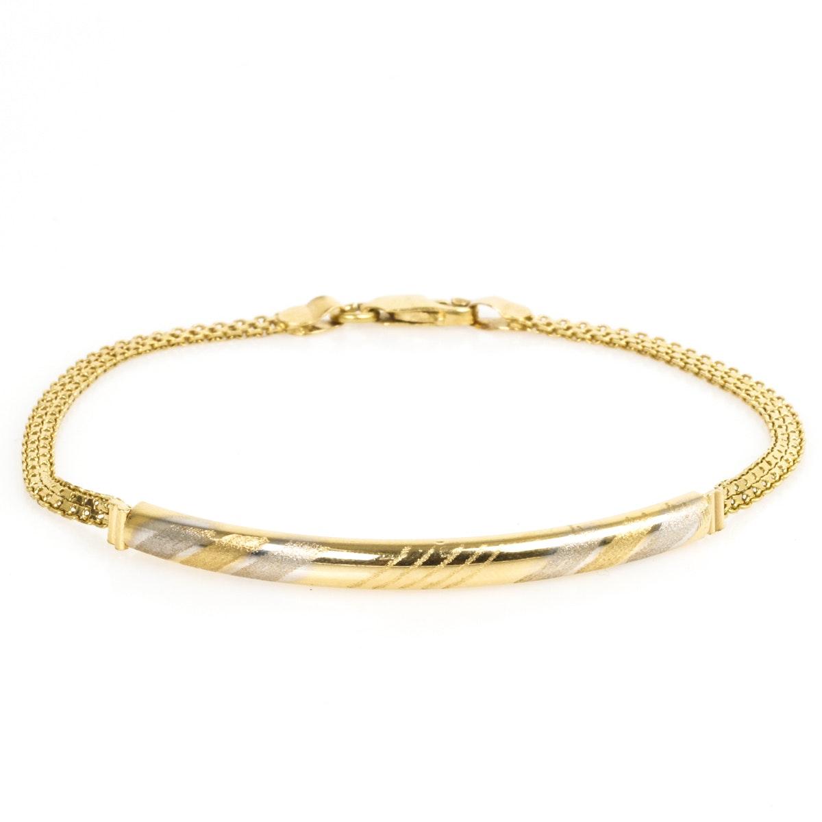 14K Yellow Gold Curved Bar Bracelet
