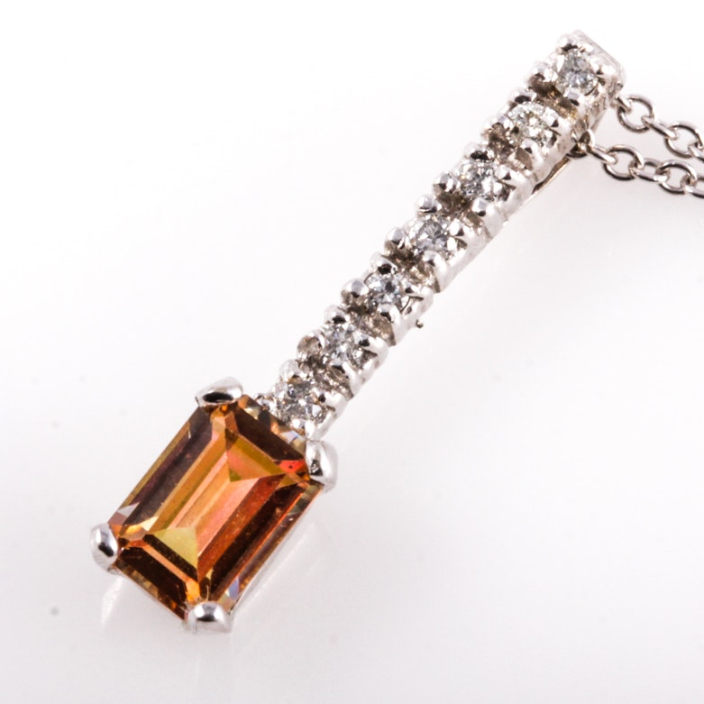 14K White Gold, Mystic Sapphire, and Diamond Pendant Necklace