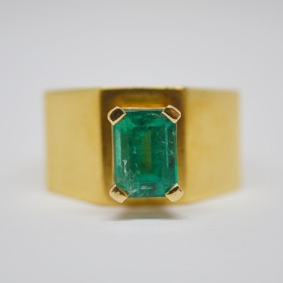 Raul Haas 18K Yellow Gold Step-Cut Emerald Ring