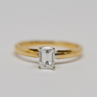 14K Yellow Gold Diamond Solitaire Ring With GIA Certificate