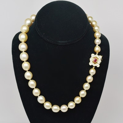 South Sea Cultured Pearl Necklace With 14K Yellow Gold Diamond and Ruby Clasp