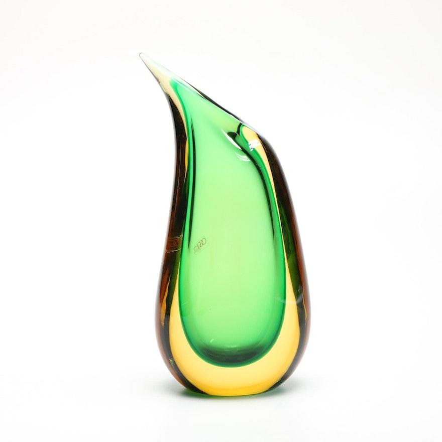 Signed Luigi Onesto Oggetti Murano Art Glass Teardrop Vase Ebth