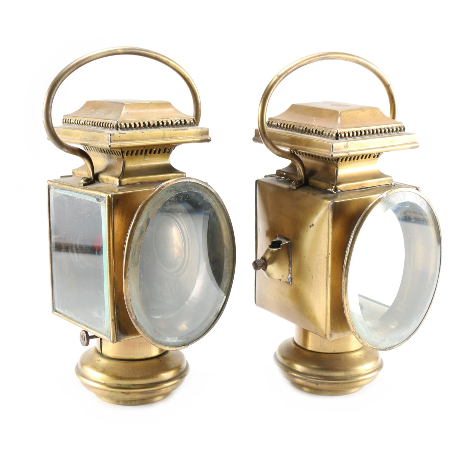 Pair of Antique French Brass Coach Lanterns