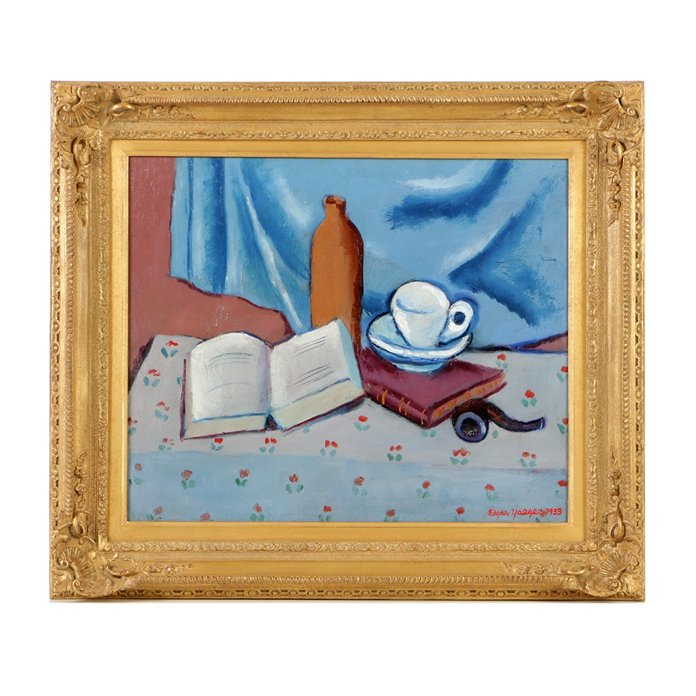 """""""Open Book Still Life"""" Framed Painting by Edgar Yeager Dated 1933"""
