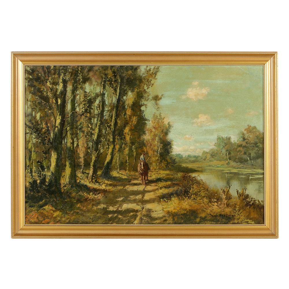 Jan Cornelis Hofman Oil Painting on Canvas Board Figurative Landscape