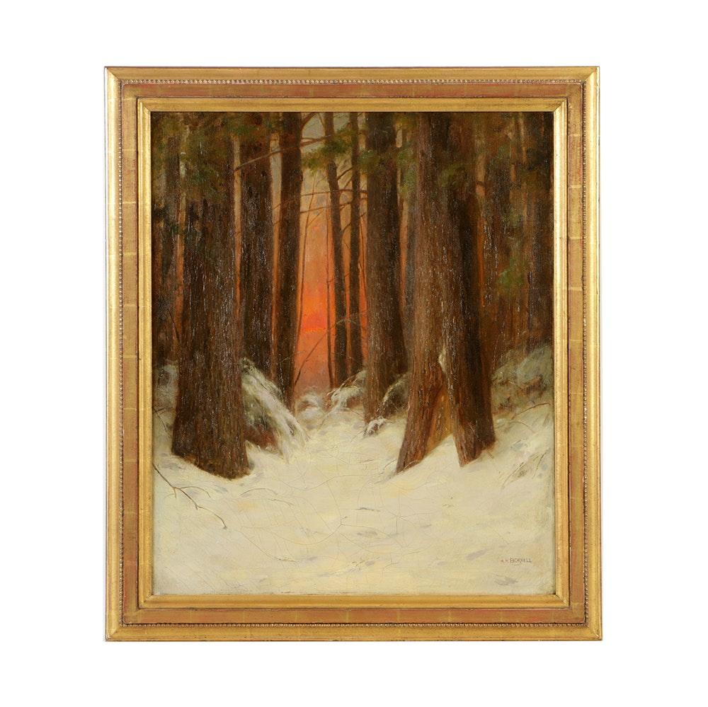 "Albion Harris Bicknell Oil Painting on Canvas ""Sundown in Winter"""