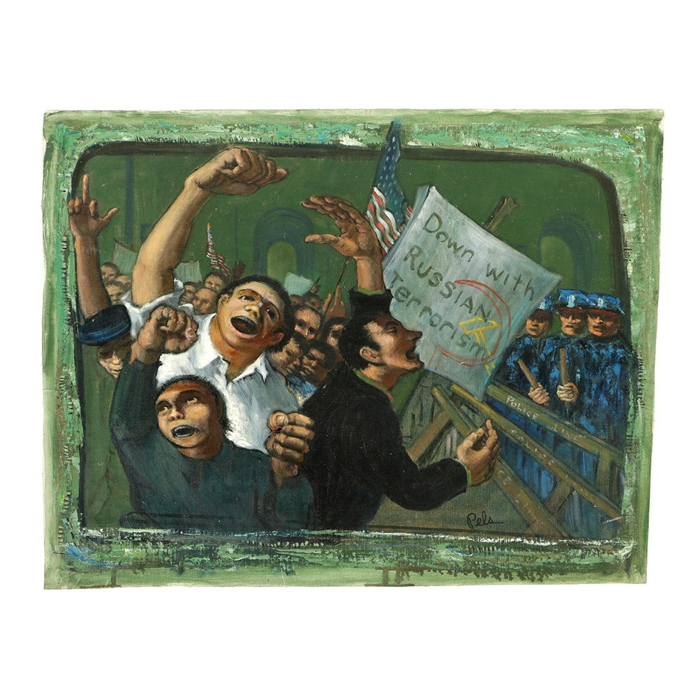 """Albert Pels Original Oil Painting on Unstretched Canvas """"Down with Russian Terrorism"""""""