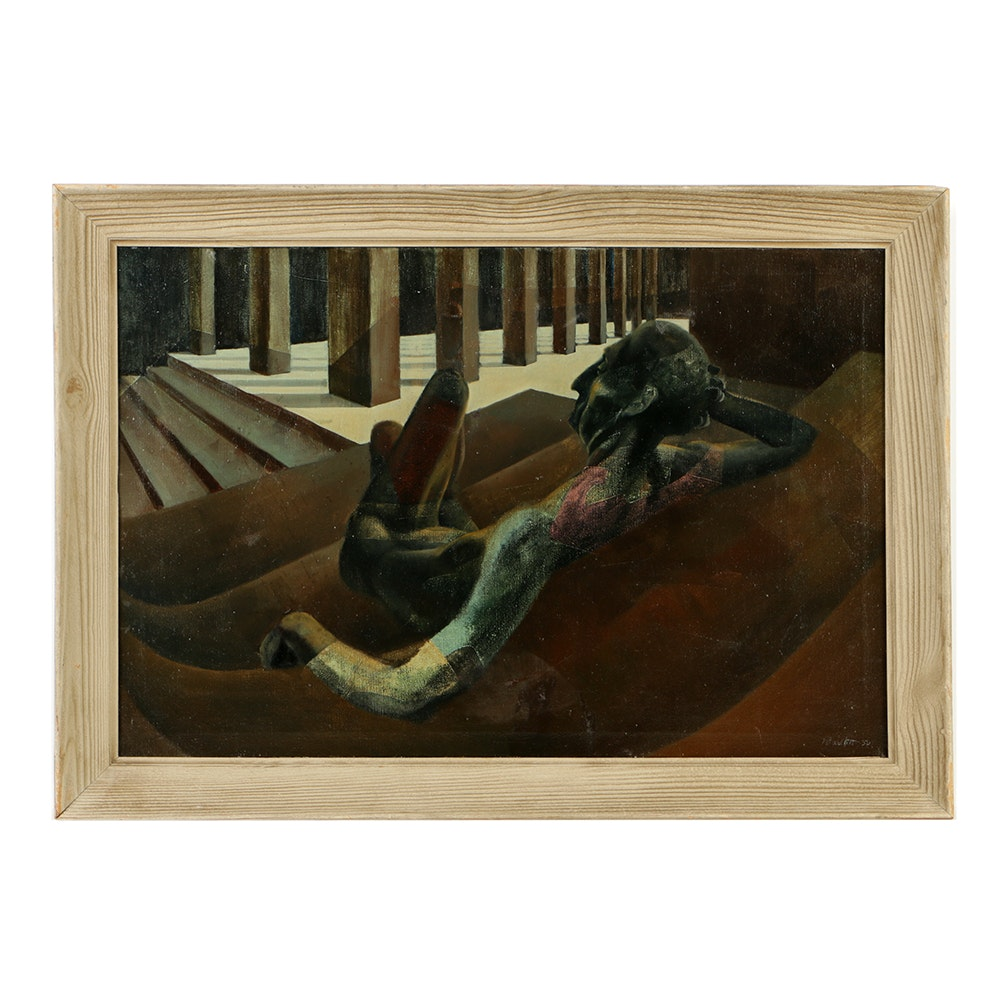 H. Bartlett Oil Painting on Canvas Mid-Century Perceptive Scene
