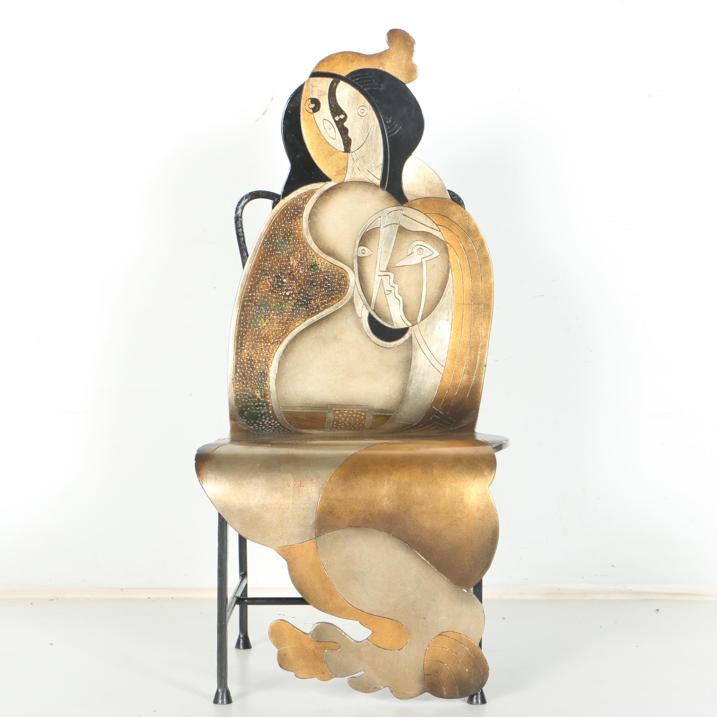 Original Metal Work Chair in Cubist Style