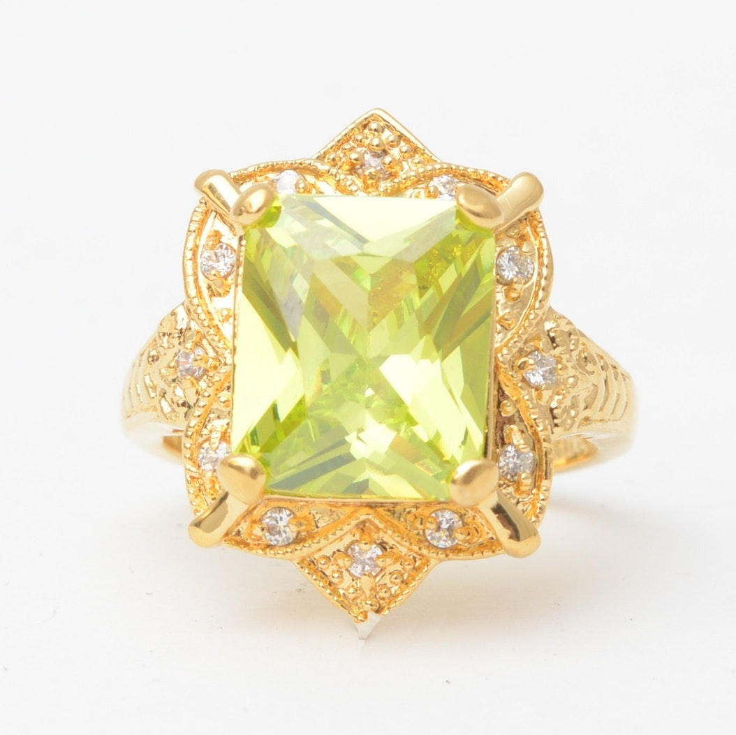 14K Yellow Gold Cubic Zirconia Ladies Ring