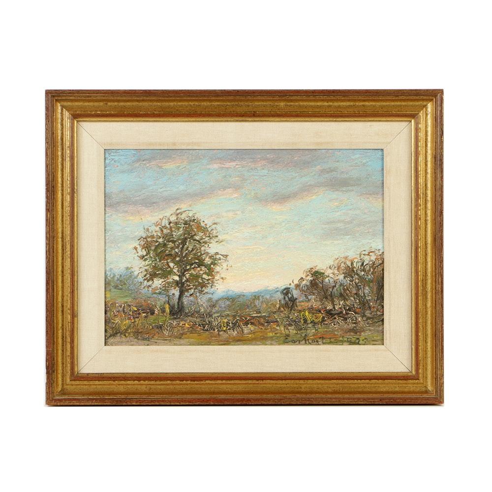 John Earhart Oil Painting on Canvas Board of Landscape