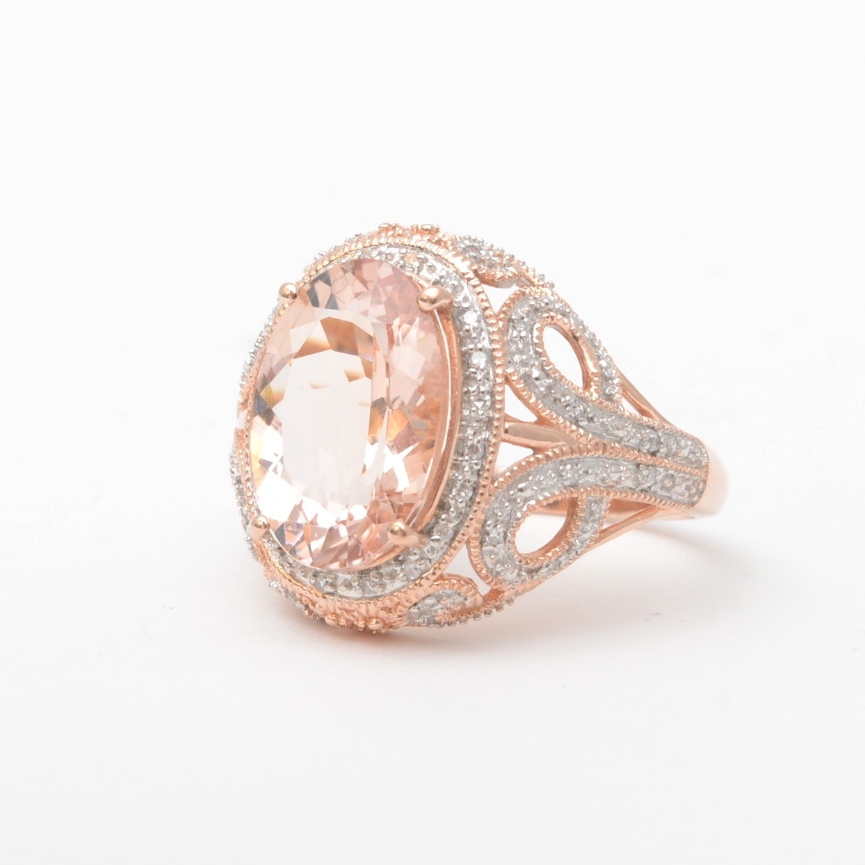 10K Gold and Morganite Ring with Diamonds