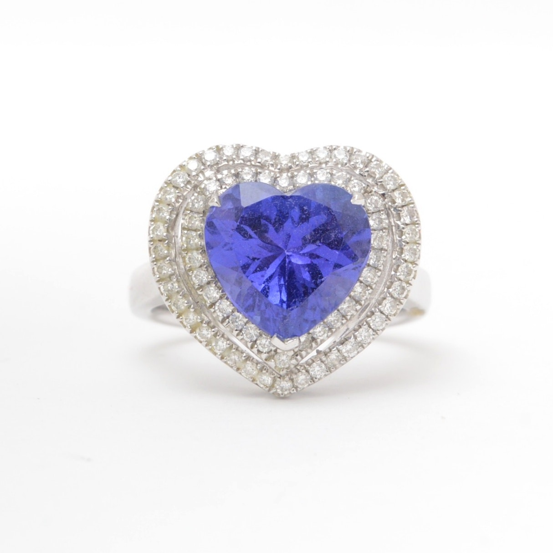 18K White Gold Heart Shaped Tanzanite and Diamond Ring