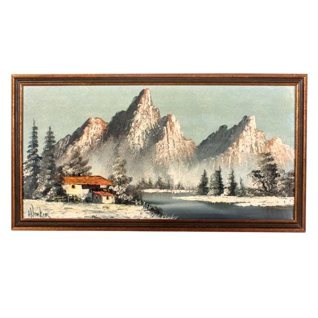 H. Tonker Mid-Century Scandinavian Landscape Painting