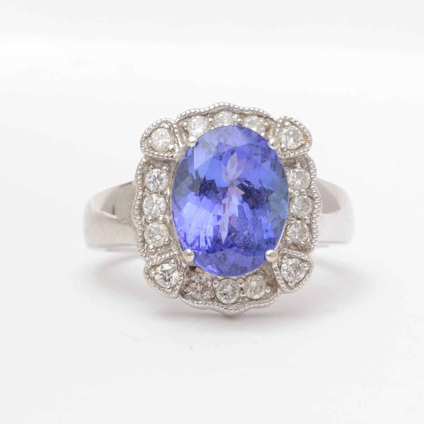 14K White Gold and Tanzanite Ring with Diamond Side Stones