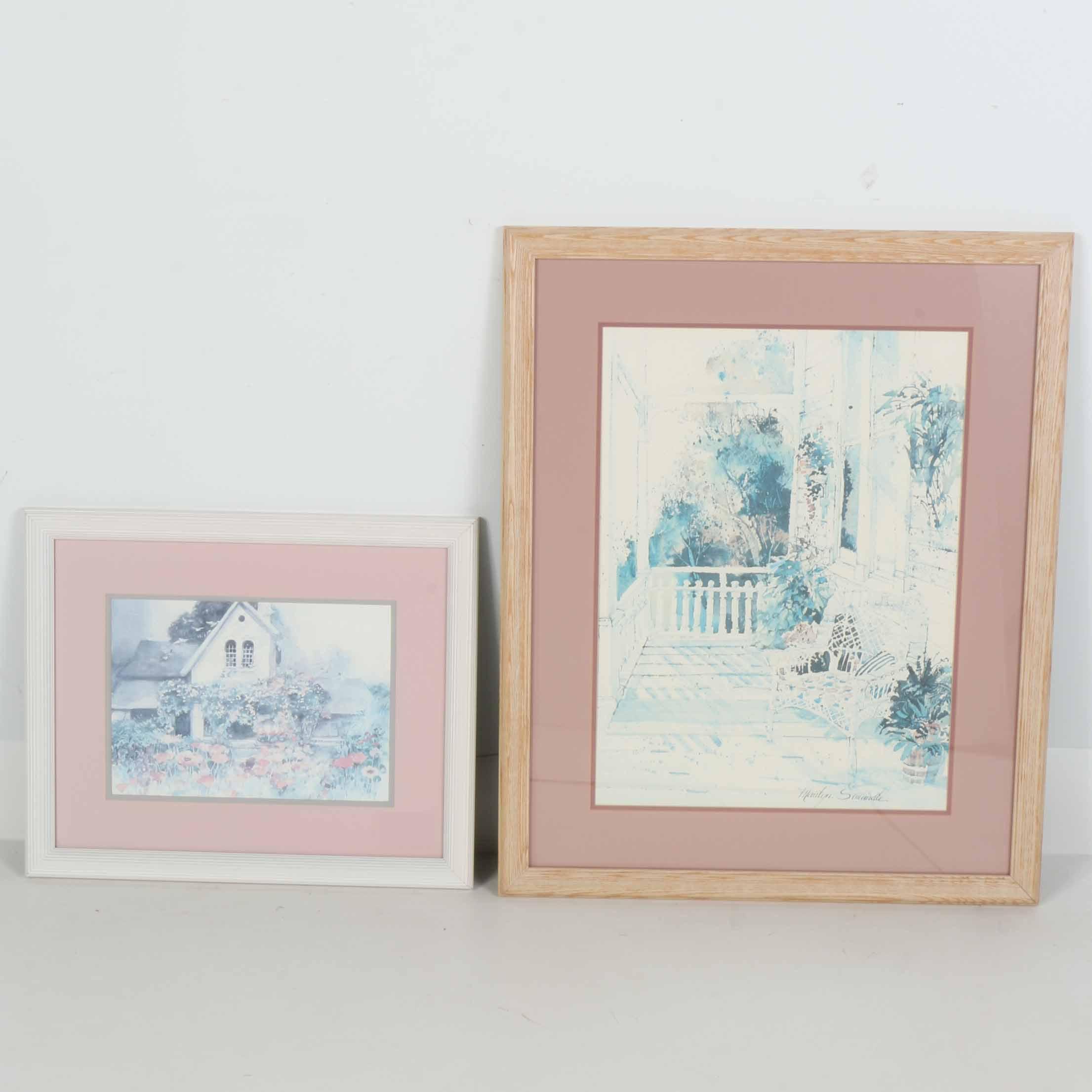 Pair of Framed Garden Offset Lithographs