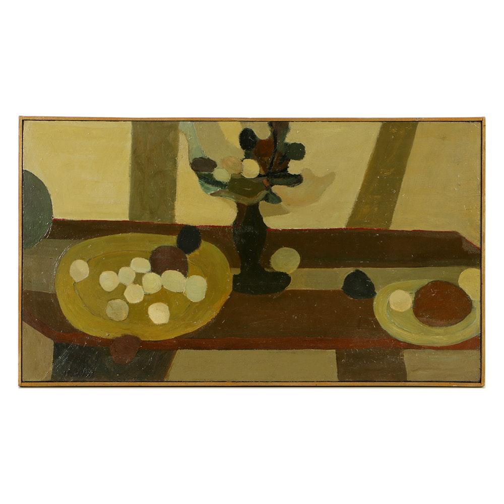 Original Still Life Painting By Edgar Hatten (1929-1990)