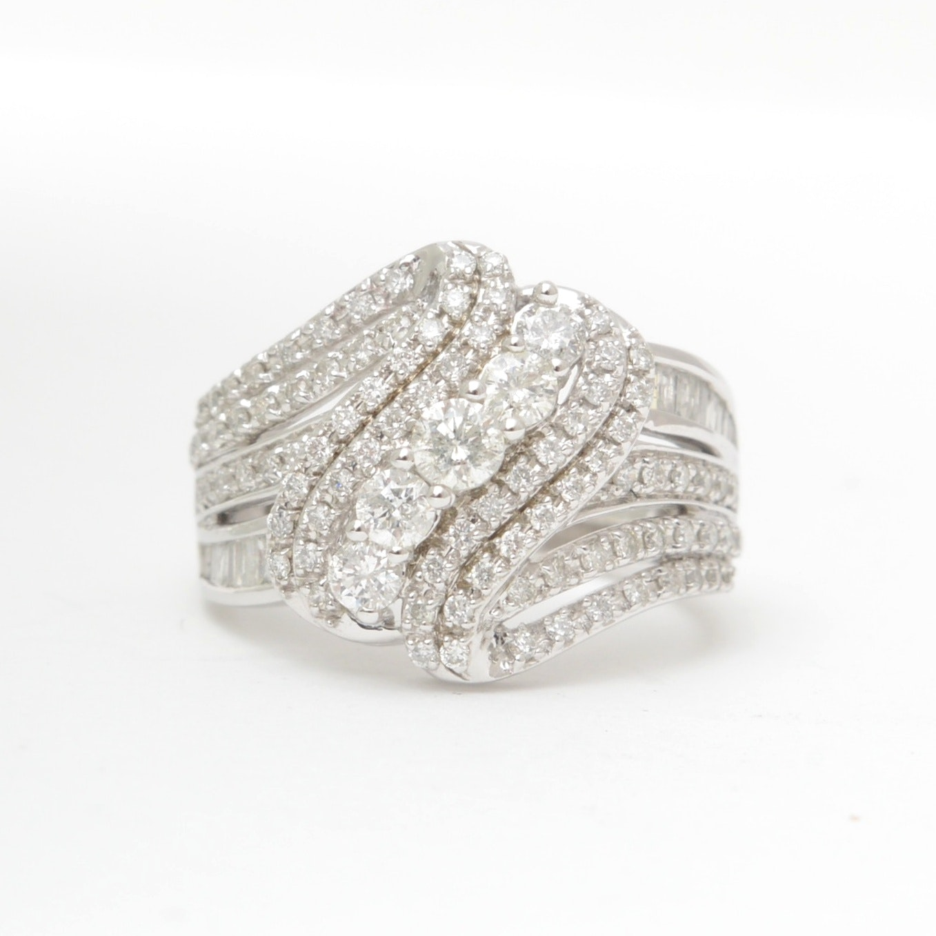 10K White Gold and Diamond Cocktail Ring