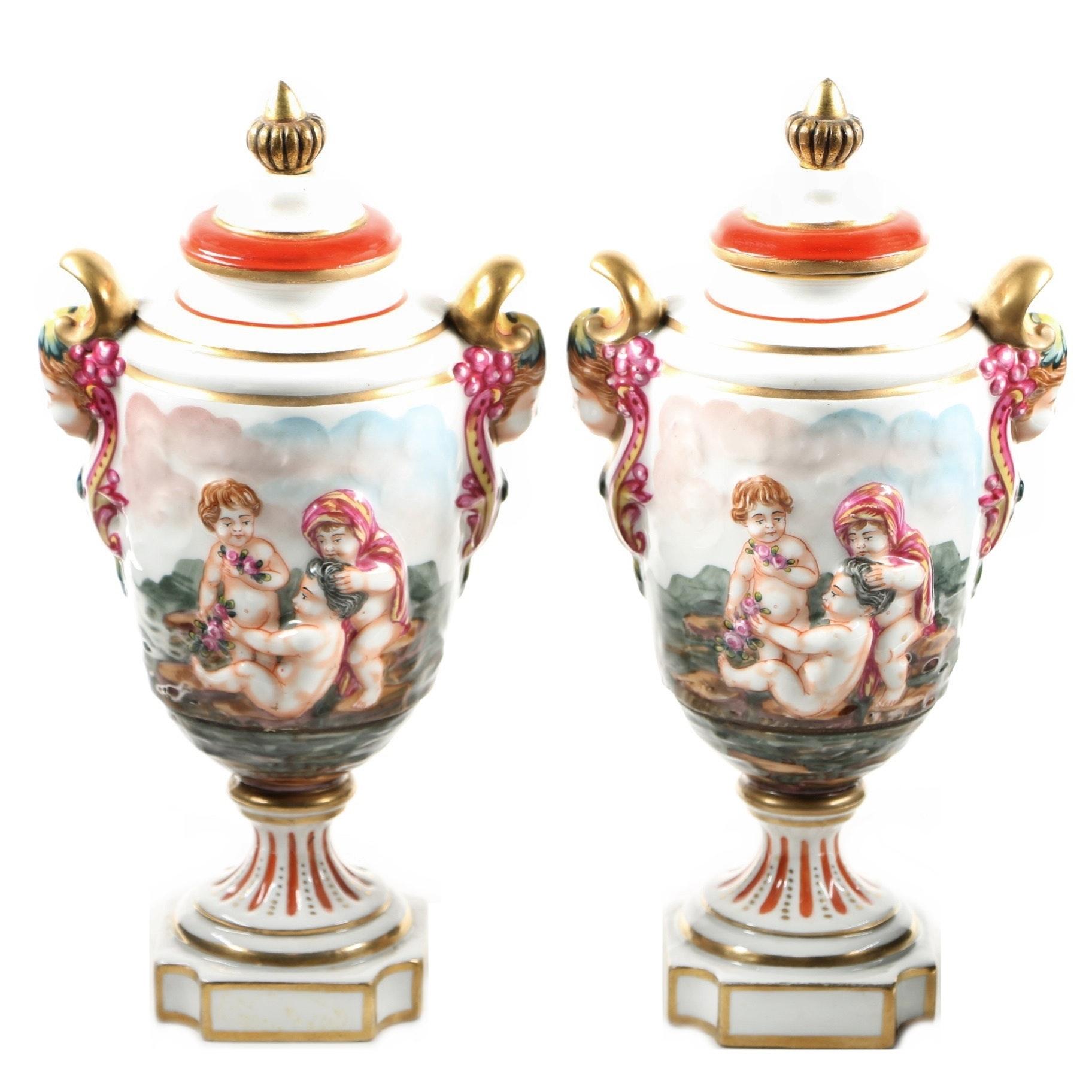 Pair of Circa 1915 French Capodimonte Figural Urns