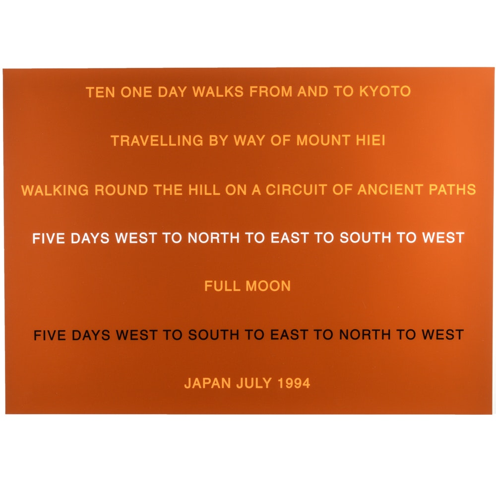 """Hamish Fulton Screenprint """"Ten One Day Walks From And To Kyoto"""""""