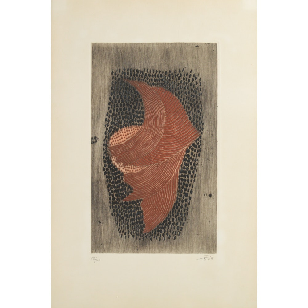 Arthur Luis Piza Limited Edition Abstract Embossed Etching