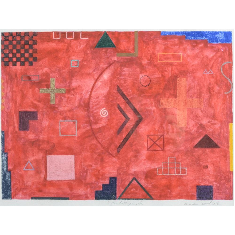 "David Shapiro Abstract Color Etching ""Burnham Wood Suite"""