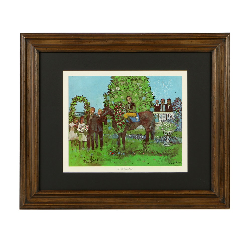 "Henry Faulkner Offset Lithograph on Paper ""In the Winners Circle"""